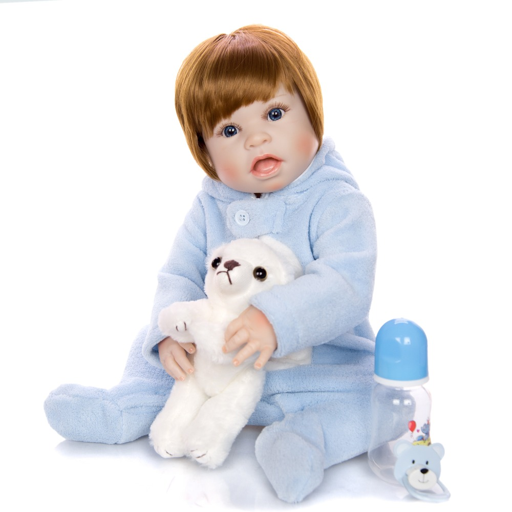 55cm Silicone corps Reborn bébé garçon poupée marron perruque bebe nouveau-né bébés reborn jouet pour les filles anniversaire cadeau Unique bébé modèle poupée