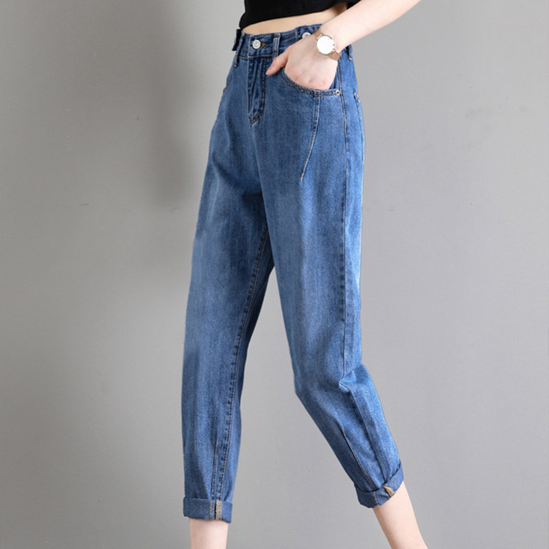 2020 Women Waist Oversized Mom Skater Jeans Lady Plus Size 5XL Baggy Cropped Pants Student Straight Ripped Jeans Autumn Trousers(China)