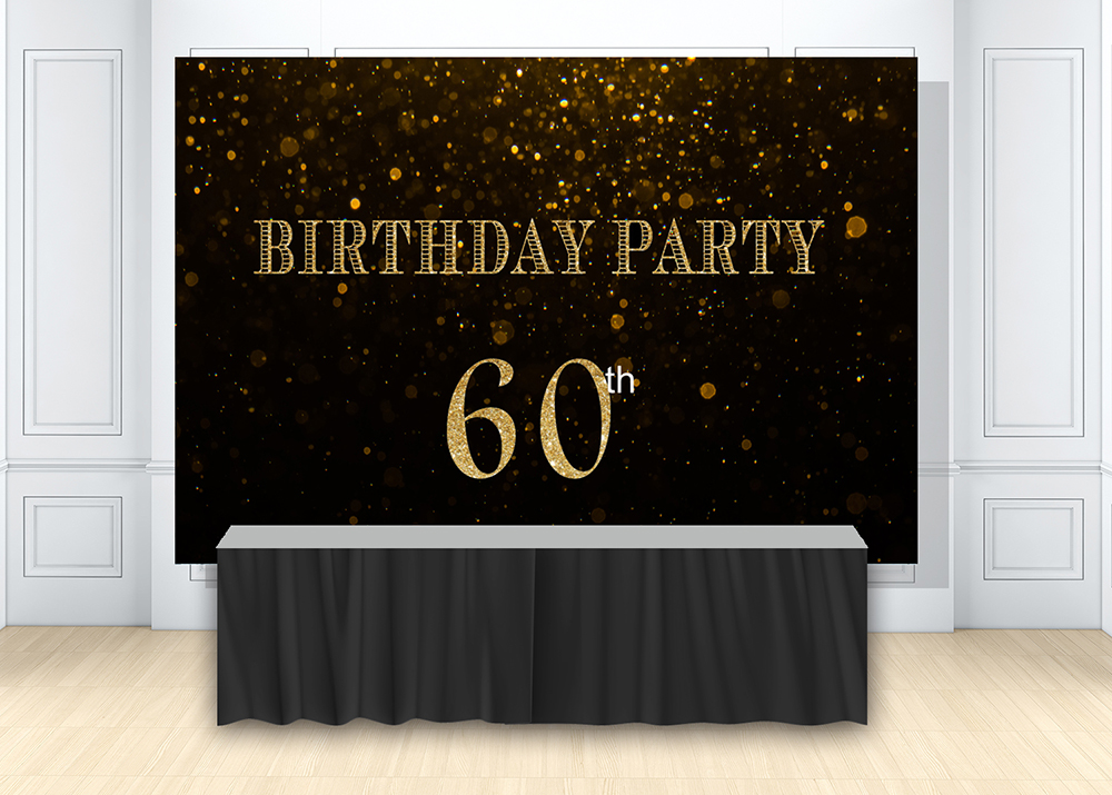 <font><b>60th</b></font> <font><b>birthday</b></font> <font><b>Backdrops</b></font> for photography black and gold party supplies decor photo background booth shoot cake dessert W-1565 image
