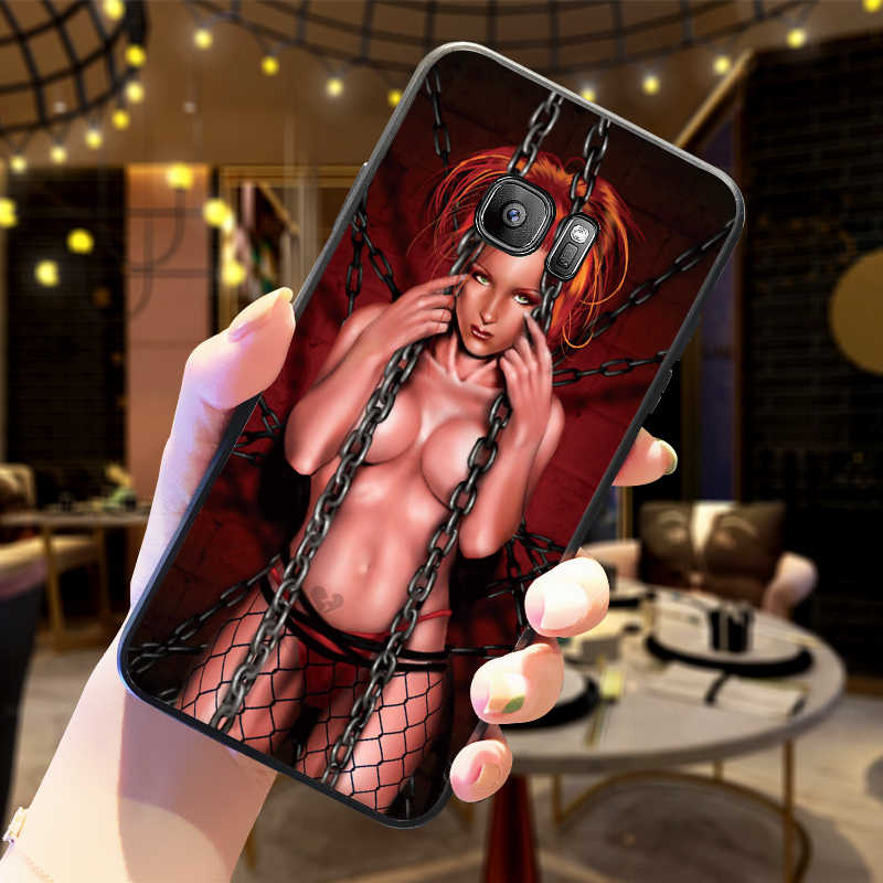 Caso de Telefone Silicone macio Para Samsung S6 S7 Borda S8 S9 S10 PLUS NOTA 8 9 M10 20 30 Volta modelo de capa Sexy girl nua tatuagem biquíni