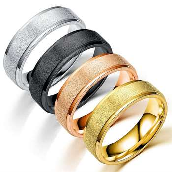 Women Jewelry fashion Titanium Steel Ring Frosted Rings sd010 image
