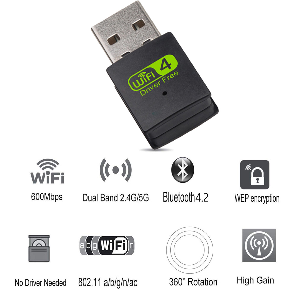 <font><b>USB</b></font> WiFi Bluetooth <font><b>Adapter</b></font> Dual Band Wireless External Receiver Dongle for PC Laptop VH99 image
