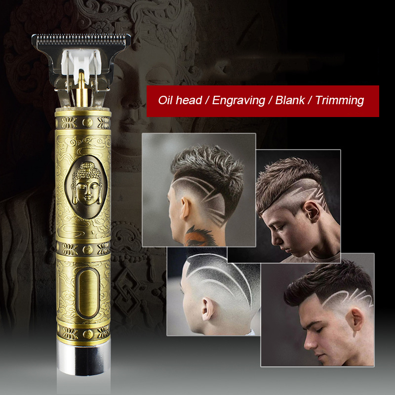Oil Head Electric Clippers Buddha Carving Retro Hair Razor Rechargeable Shaver Cordless Haircut Household Hair Trimmer Men