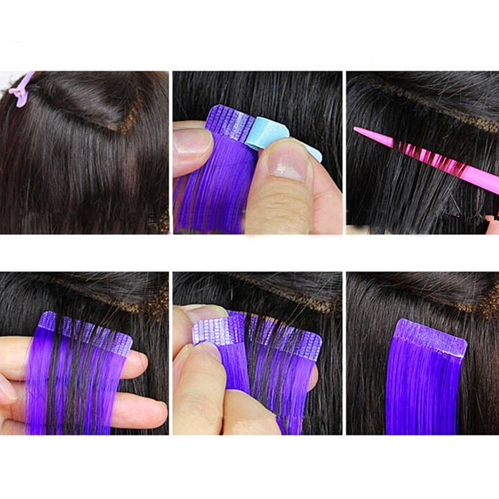 12 sztuk/arkusz funkcja ludzkie narzędzie do przedłużania włosów 4cm * 0.8cm taśma do włosów klej samoprzylepny taśma dwustronna wodoodporna do koronki peruka