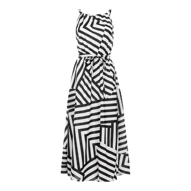 Summer Maxi Long Dress New Fashion Women Sexy Boho Striped Sleeveless Beach Style Strap Sundress Evening Party Beach Sundress 3