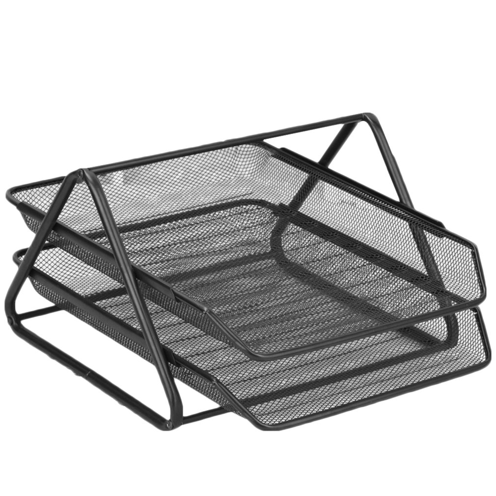 Office Organizer Supplies Barbed  Wire Metal Two-Layer File Holder Desk Organizer Data Tray File Tray Anti-Rust Magazine Bar