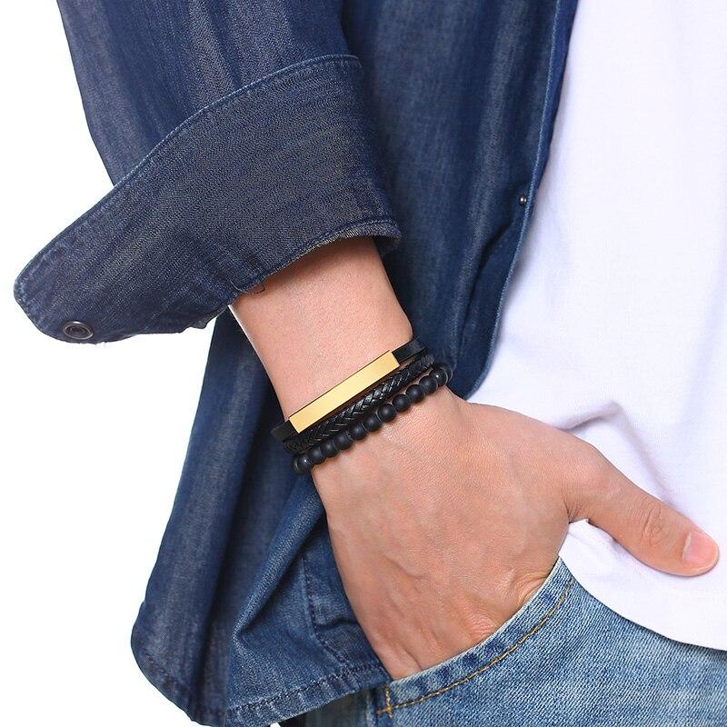 Bracelet personnalisé avec nom noir à perles pour hommes, Bracelet en pierre naturelle, fermoir magnétique, en acier inoxydable 6