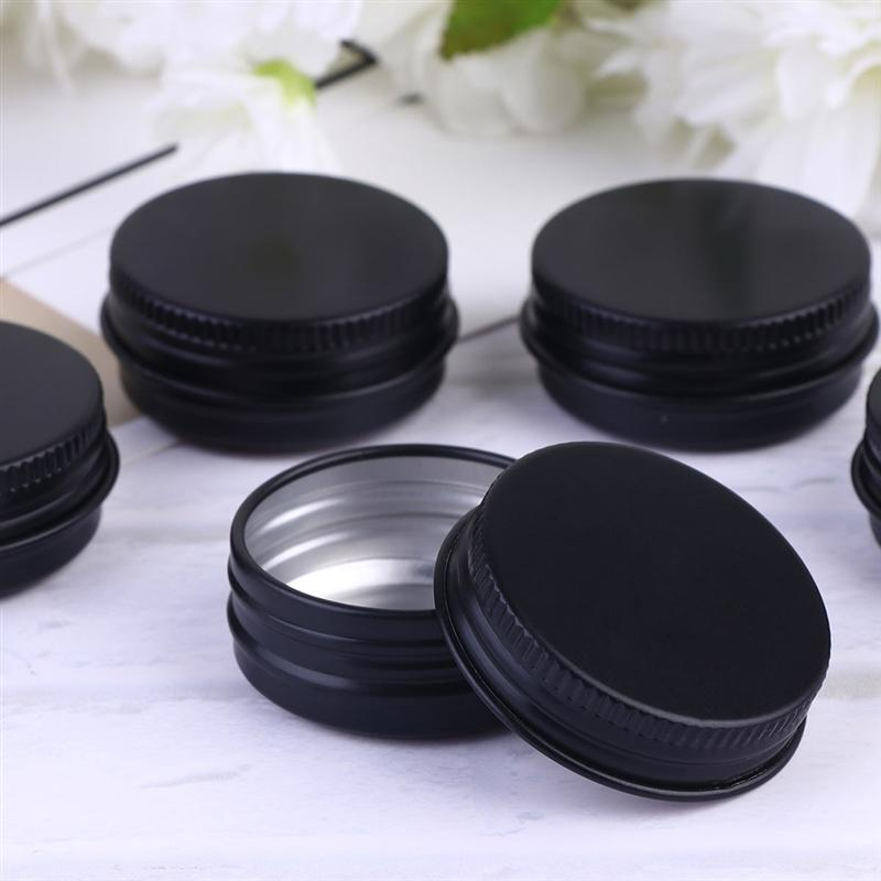 10pcs 20ml Aluminium Boxes Ointment Cream Sub Containers Empty Makeup Cases Cosmetic Supplies For Home Travel (Black)