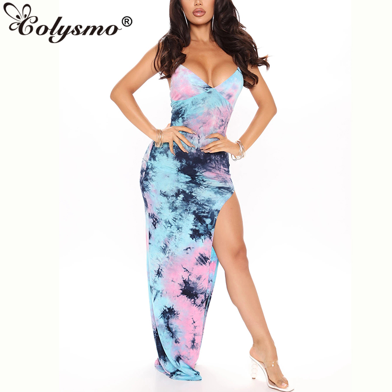 Colysmo Tie Dye Dress Summer Sleeveless Backless Sexy Dresses Woman Party Night Wear Slim Fit Bodycon Maxi Dresses Yellow 2020