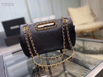 Early spring 2020 new style small fragrant wind hollow leather rhombus handle hand-held single shoulder slant span flap chain ba