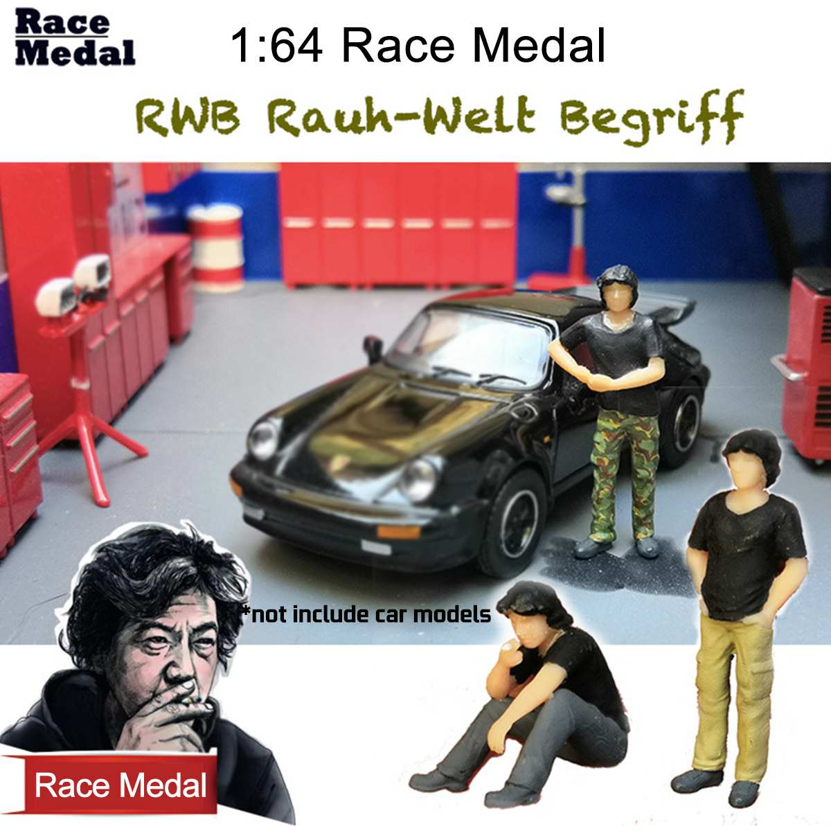 1:64 Scale City Model Car Repair Man Figure Scenario Model For Race Medal Matchbox Chirldren Toy Group People Mode