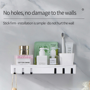 Image 2 - Wall mounted Bathroom Organizer Storage Shelf Household Items Bathroom Accessories Kitchen Plastic Rack Space Shelf Nail freel
