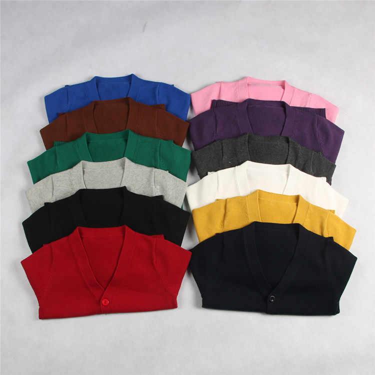 새로운 v-목 카디건 스웨터 작은 코트 아동 스웨터 단색 남성과 여성 아기 학교 유니폼 카디건