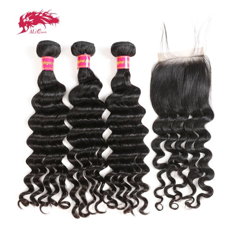 Ali Queen Hair Brazilian Natural Wave 3/4Pcs Virgin Human Hair Bundles With Closure Free Part Natural Color Bundles With Frontal