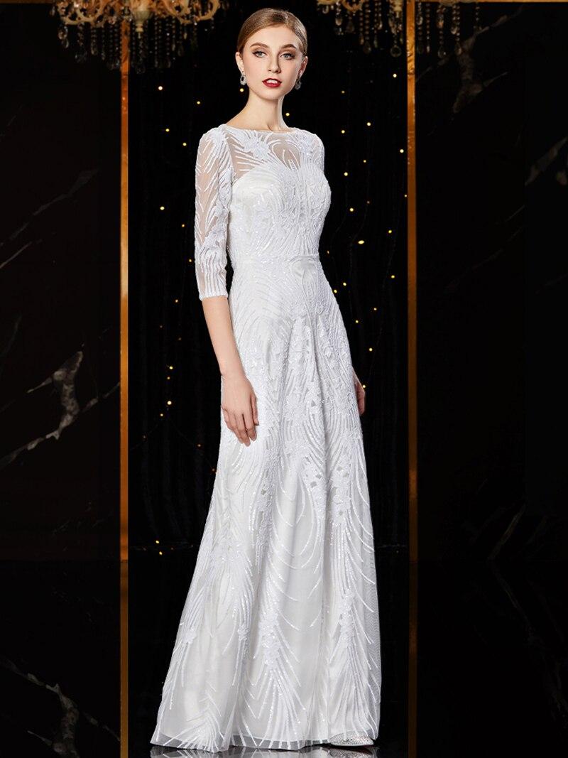 Image 4 - J1952 jancember cheap evening dress long o neck half sleeve pattren sequin lace ladies party dresses kleider damen abendkleidEvening Dresses   -