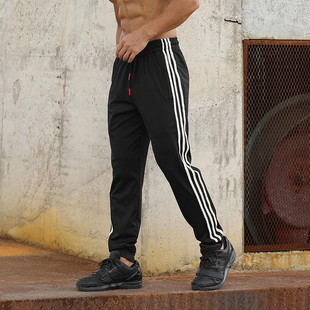 Gym Men's Sport Running Pants Stripes Zipper Pockets Training Pants Workout Athletic Football Soccer Gym Pants Men Sweatpants 4
