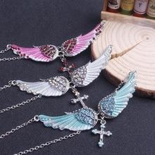 Light blue fashion angel wings cross pendant stainless steel necklace creative rhinestone pendant neck chain clavicle chain FXM angel wings rhinestone teardrop necklace
