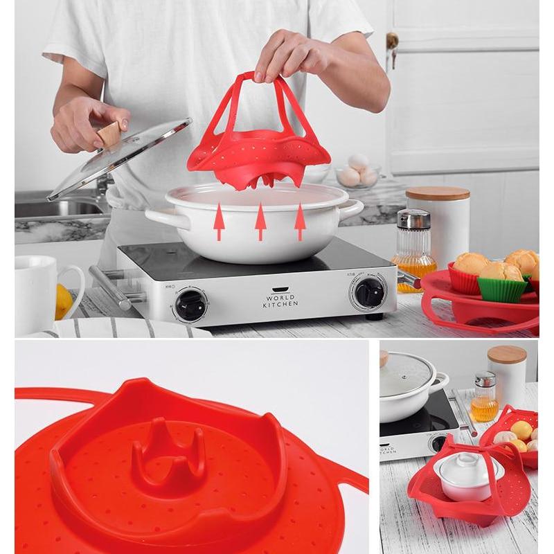 Vegetable Steamer Basket Silicone Pot Great For Instant Pot Pressure Cooker Sling Bakeware Lifter Multi-Function Cooker Holder