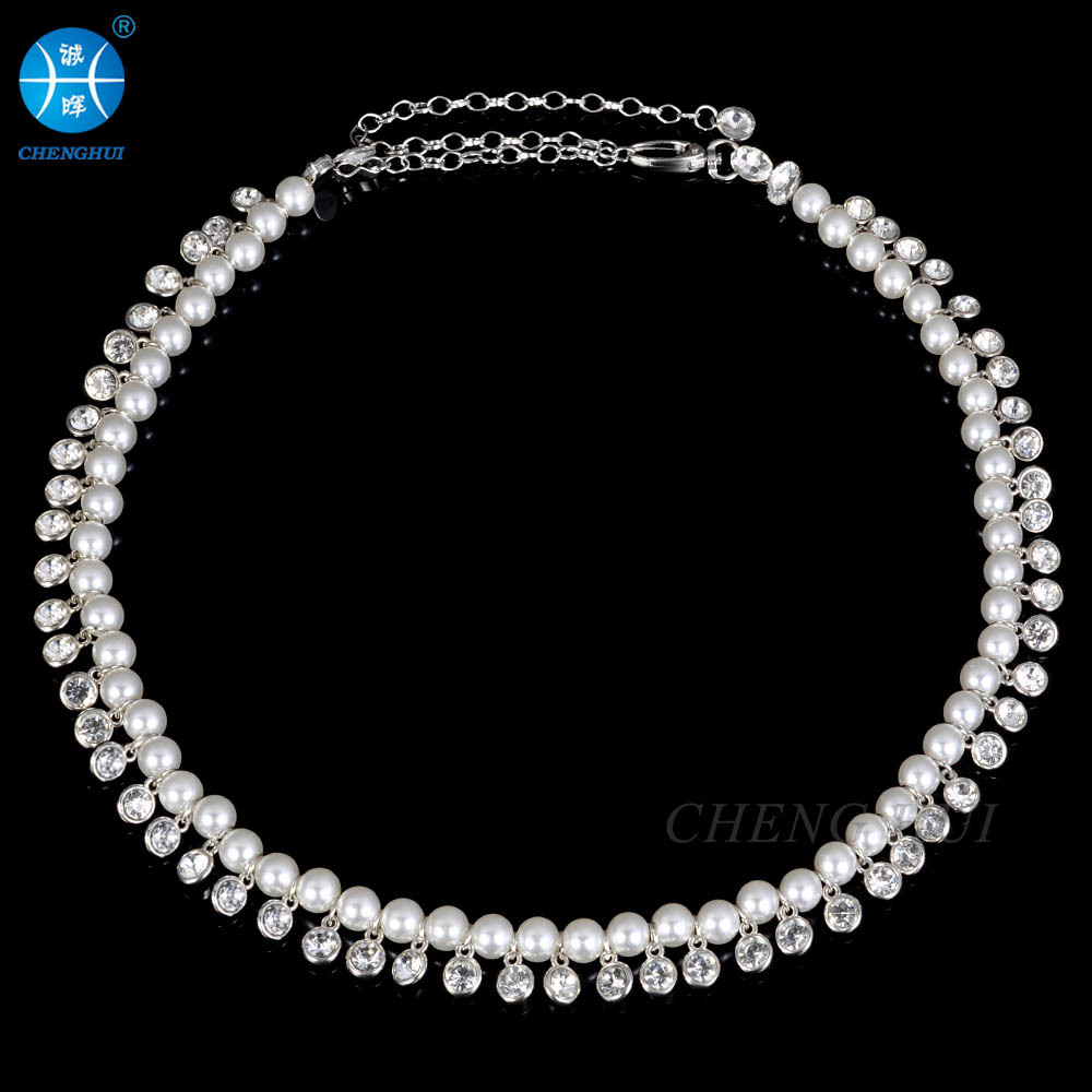 2017 Hot Selling New Style Man-made Diamond Belly Dance Waist Chain-Style Pearl Weaving WOMEN'S Waistband Accessories