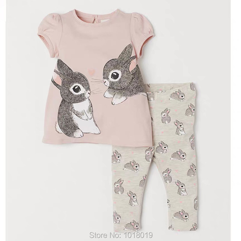 2-7Y Baby Girl Clothes Set Kids 100% Cotton Summer Bunny T-shirt Pants 2pc Children Suit Bebe Girls Tees Shorts Outfits New 2020
