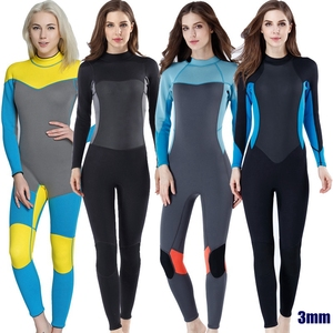 Image 1 - 새로운 3mm 품질 여성 탄성 꽉 네오프렌 잠수복 잠수복 컬러 스티칭 서핑 장비 해파리 의류 긴 소매