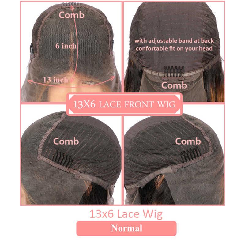 Onda profunda 13x 4/13x6 peruca dianteira do laço cor natural 370 peruca frontal do laço brasileiro onda profunda encaracolado remy perucas de cabelo humano para mulher