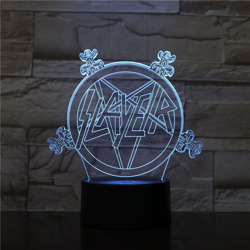 Band Slayer Logo 3d LED Night Light USB Touch Sensor Hoom Room Decorative Lamp Child Kids Baby Nightlight Kit Table Lamp Bedroom