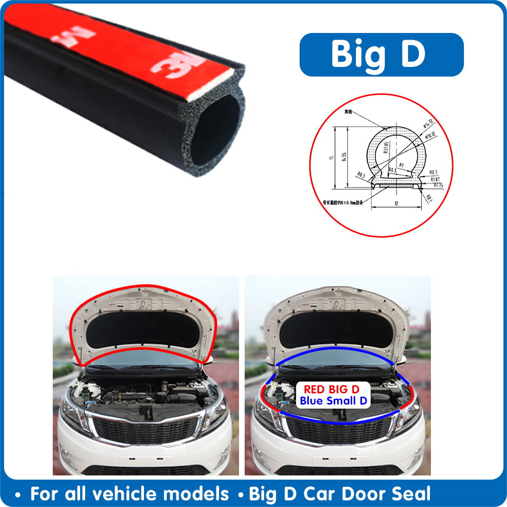 Car Rubber Door Seal Strip Big D Type Car Door Seal Strip Universal Noise Insulation Epdm Car Rubber Waterproof Seals For Auto