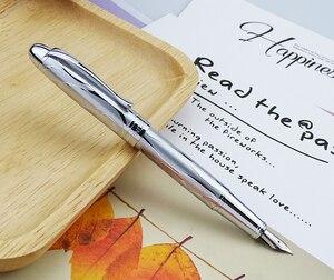 Image 4 - HongDian معدن الفضة قلم حبر النهضة 5010 جميلة تنقش الإيريدوم EF/F بنك الاستثمار القومي الكتابة هدية قلم حبر لمكتب الأعمال