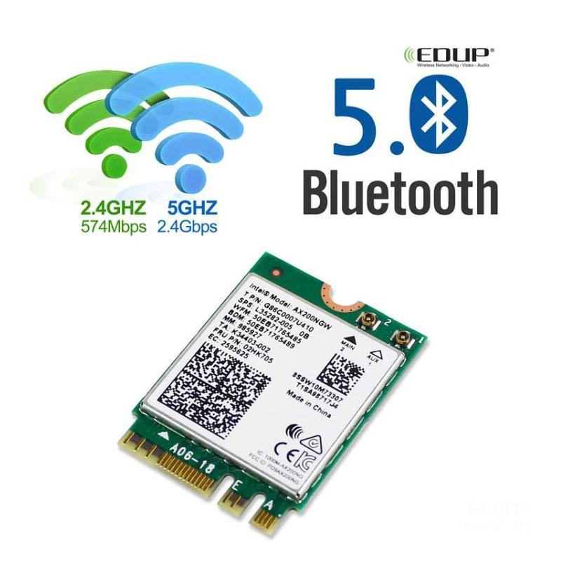 Wireless Dual Band 2400Mbps Intel AX200 NGFF M.2 802.11ax/ac Bluetooth 5.0 Wifi 6 Network Card AX200NGW MU-MIMO For Windows 10