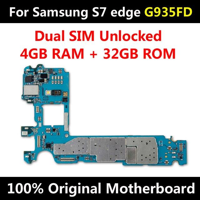 מקורי במפעל סמארטפון MainBoard לסמסונג גלקסי S7 קצה G935FD האם עם שבבי IMEI אנדרואיד OS SIM הכפול נתמך