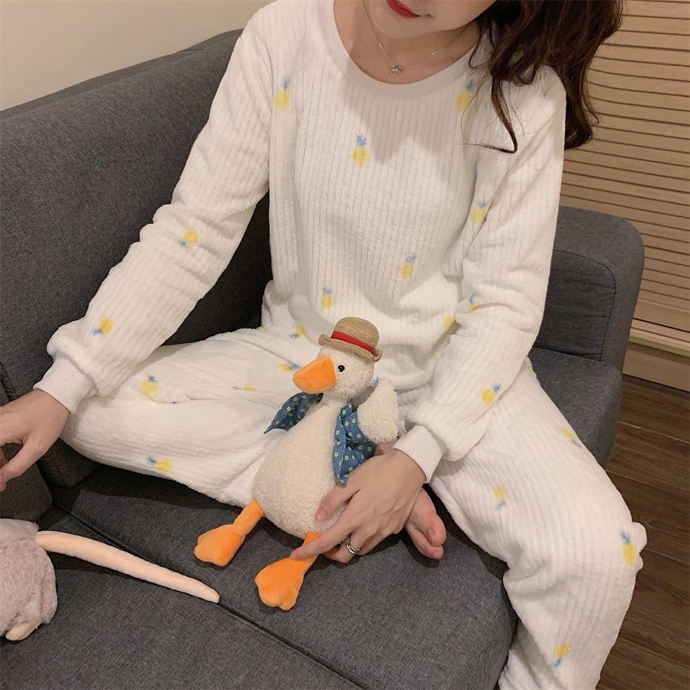 Photo Shoot 2019 WOMEN'S Dress Autumn & Winter Cute Sweet Cartoon Pattern Long Sleeve Pajamas + Pajamas Piece Tracksuit