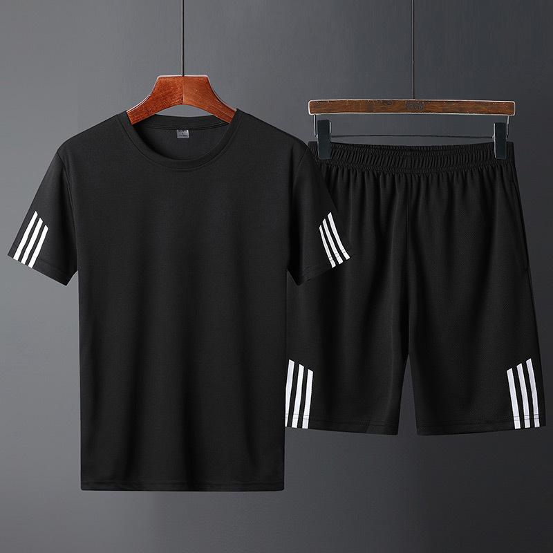 Sports Set Basketball Clothing Summer Men Quick-Dry Round Neckline T-shirt Thin Gym Running Clothing Short Sleeve Training-