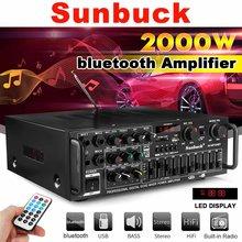 2000w 4ohm 2ch amplificador estéreo bluetooth sem fio de alta fidelidade áudio estéreo em casa karaoke amplificador potência do carro amp usb disco cartão sd