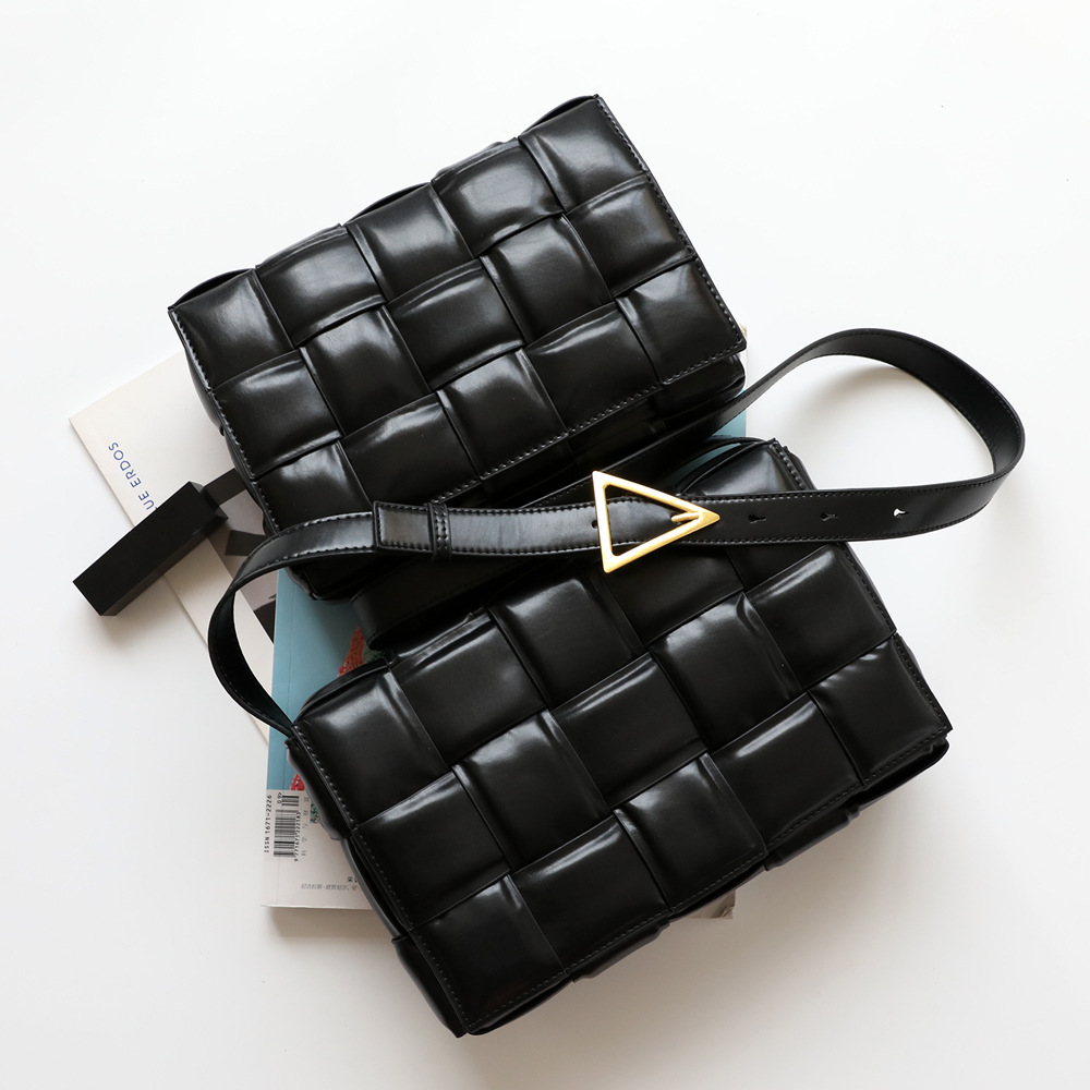 2021 New Popular Weaving Handbags High Quality Women Stitching Small Square Bag Cow Leather Ladies Shoulder Bags Day Clutches