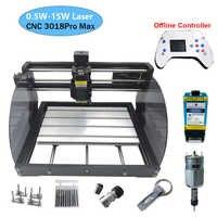 3018 pro max potência da máquina de gravura do laser 0.5 w-15 w 3 eixos cnc roteador diy mini carpintaria gravador do laser com controlador offline