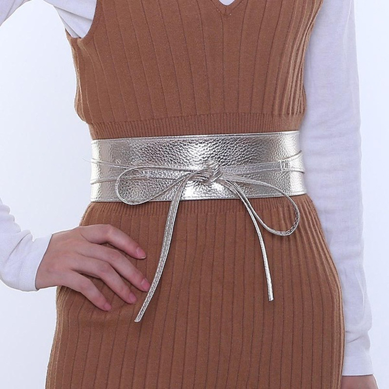 Spring Autumn Women Belt Lady Metallic Color Soft Faux Leather Wide Belt Self Tie Wrap Waist Mujer Dress