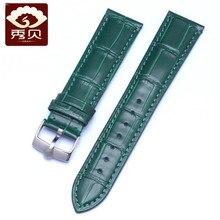 Universal19mm 20mm 21mm 22mm bracelet de montre en cuir véritable et boucle ardillon bracelet en cuir de veau vert pour RX deep sea Yacht Daytona GMT montre