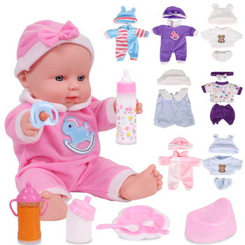 12 inches Reborn Dolls For Baby Girl Dressed Fashion Clothes Full Silicone Simulation Toys For Kids Birthday Gift