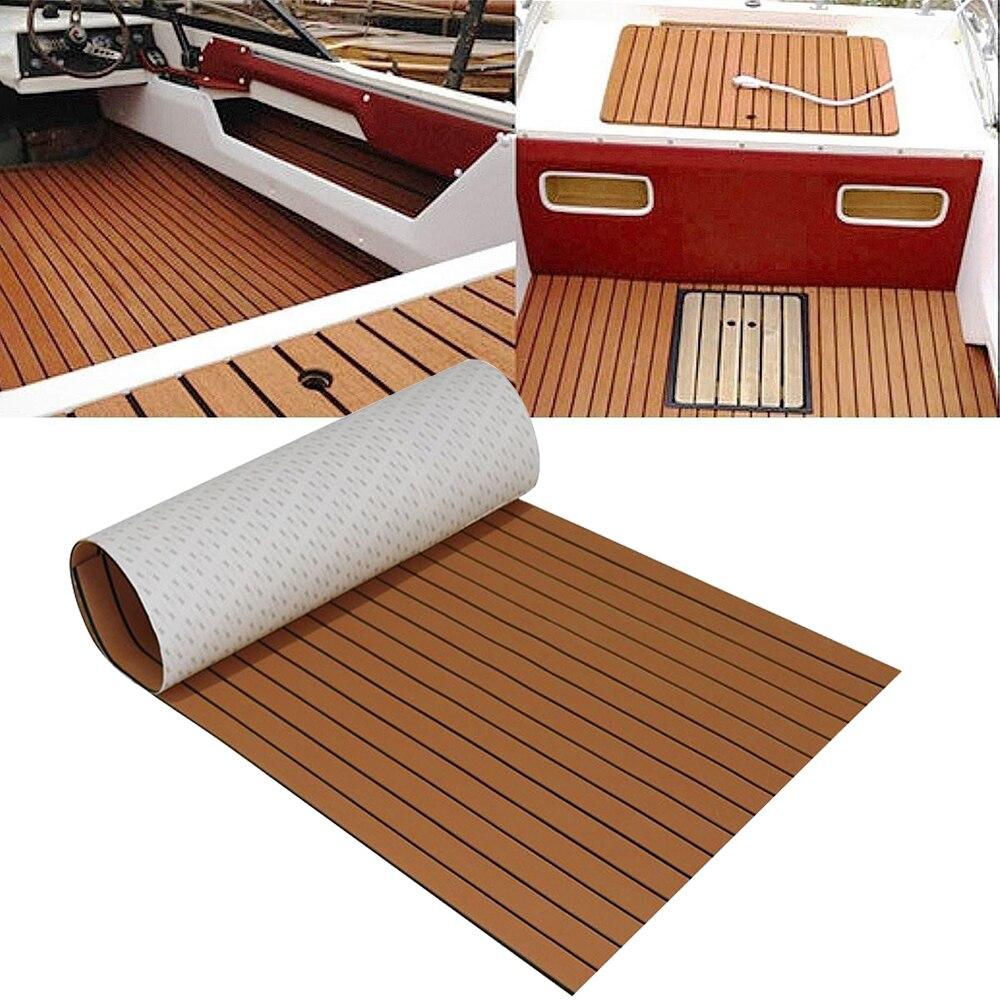 Dark Brown EVA Teak Decking Sheet Boat Flooring Fit For Yacht Self-Adhesive Flooring Faux Boat Decking Imitation Wood Floor Pad