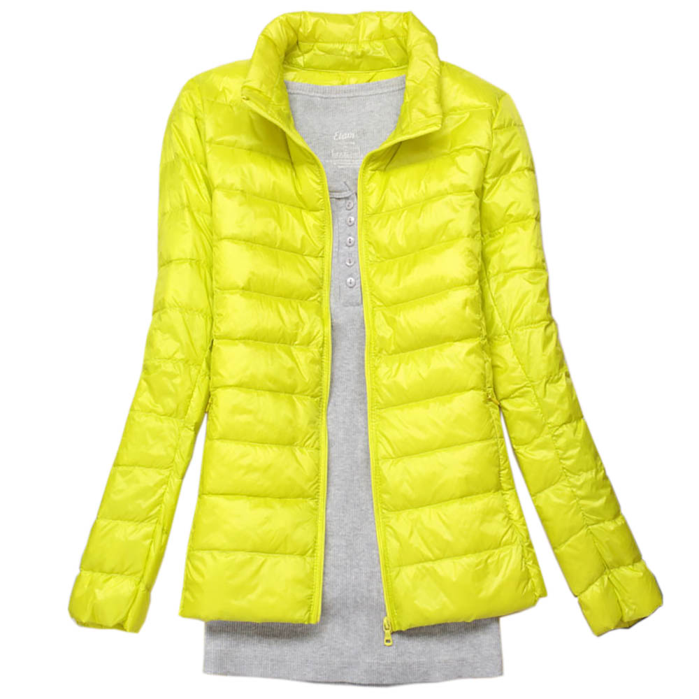 Plus Size 3XL Autumn Coats   Jackets   Winter Women Ultra Light Duck Down   Basic     Jackets   Pink Warm Slim Stand Collar Short Overcoat