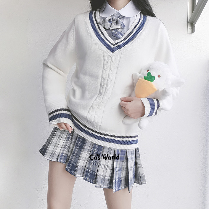 [Gentle Knife] Autumn Winter Long Sleeve Knit Tops Pullovers V Neck Sweaters For JK School Uniform Student Clothes