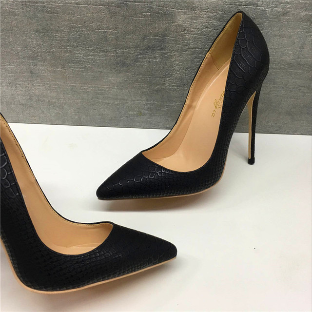 Keshangjia brand fashion new pointed delicate black snake pattern single shoes 12cm high heels ladies party shoes