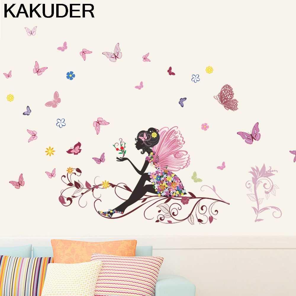 KAKUDER ملصقات جدار فراشة زهرة الجنية ملصقات جدار لغرفة النوم غرفة المعيشة ديكور المنزل منزل الشارات زين الفينيل 15Au22