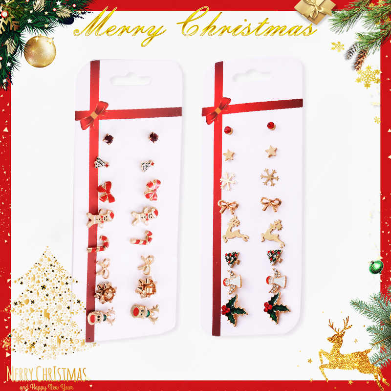 2019 New Christmas earrings set Christmas gift Christmas 8 pairs of Christmas deer Christmas tree earrings set combination