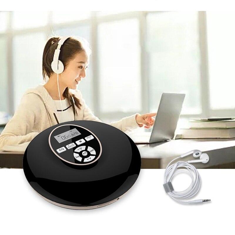 Lecteur CD Portable avec lecteur baladeur Bluetooth avec écran LCD prise Audio 3.5mm pour cadeau (noir)