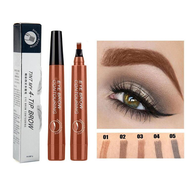 5 Colors 3D Magic Microblading Eyebrow Pencil Makeup Tool Tint 4 Tip Liquid Brow Tattoo Pen Waterproof Cosmetic Eye brow Liner 3