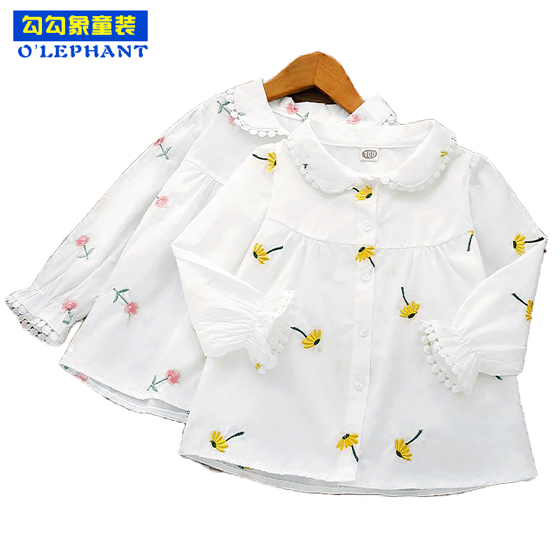 Flowers Embroidery   blouses   for girls Spring Autumn Doll collar school   blouses   Long sleeve White   shirt   girls Toddler tops clothes