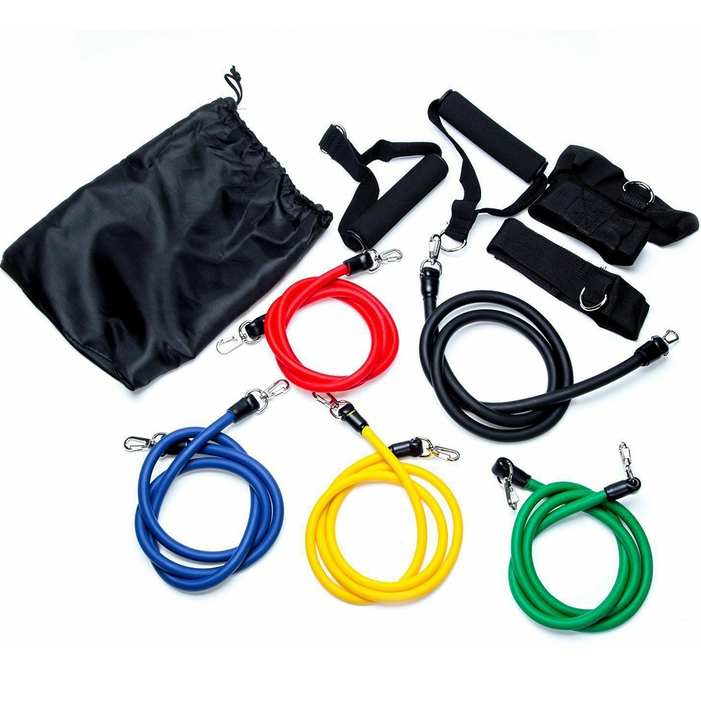 11 Set Resistance Bands Set Yoga Exercise Fitness Band Rubber Loop Tube Bands Gym Door Ankle Straps With Bag Elastic Band