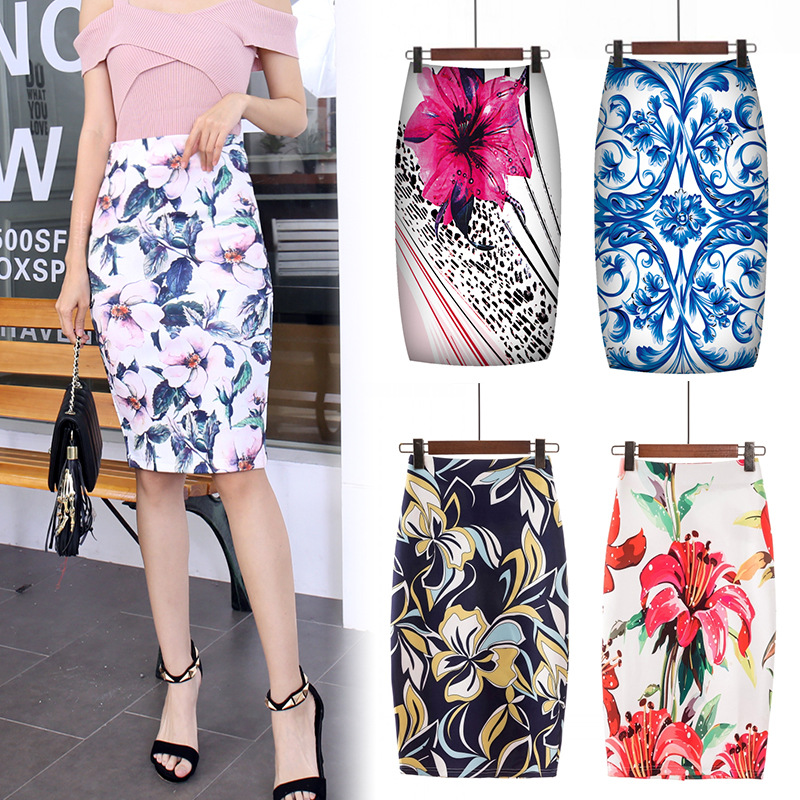 Digital Printed Pencil Skirt For Women Faldas Mujer Moda 2019 Floral Pencil Summer Midi Skirt Womens Skirts Female Falda Mujer